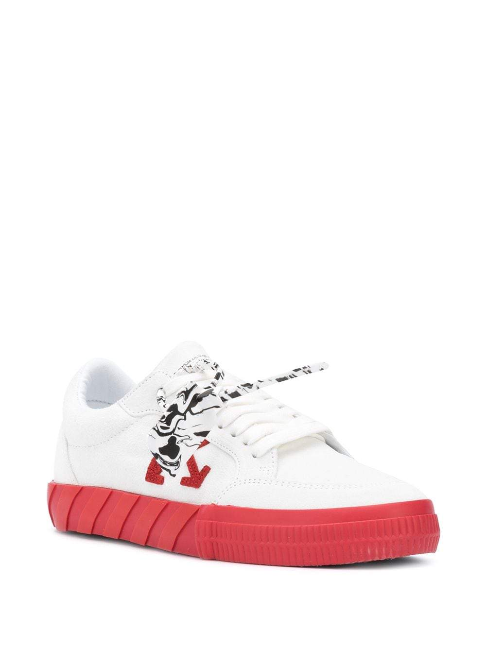 OFF-WHITE Low Vulcanized Sneaker Suede White/Red - Maison De Fashion