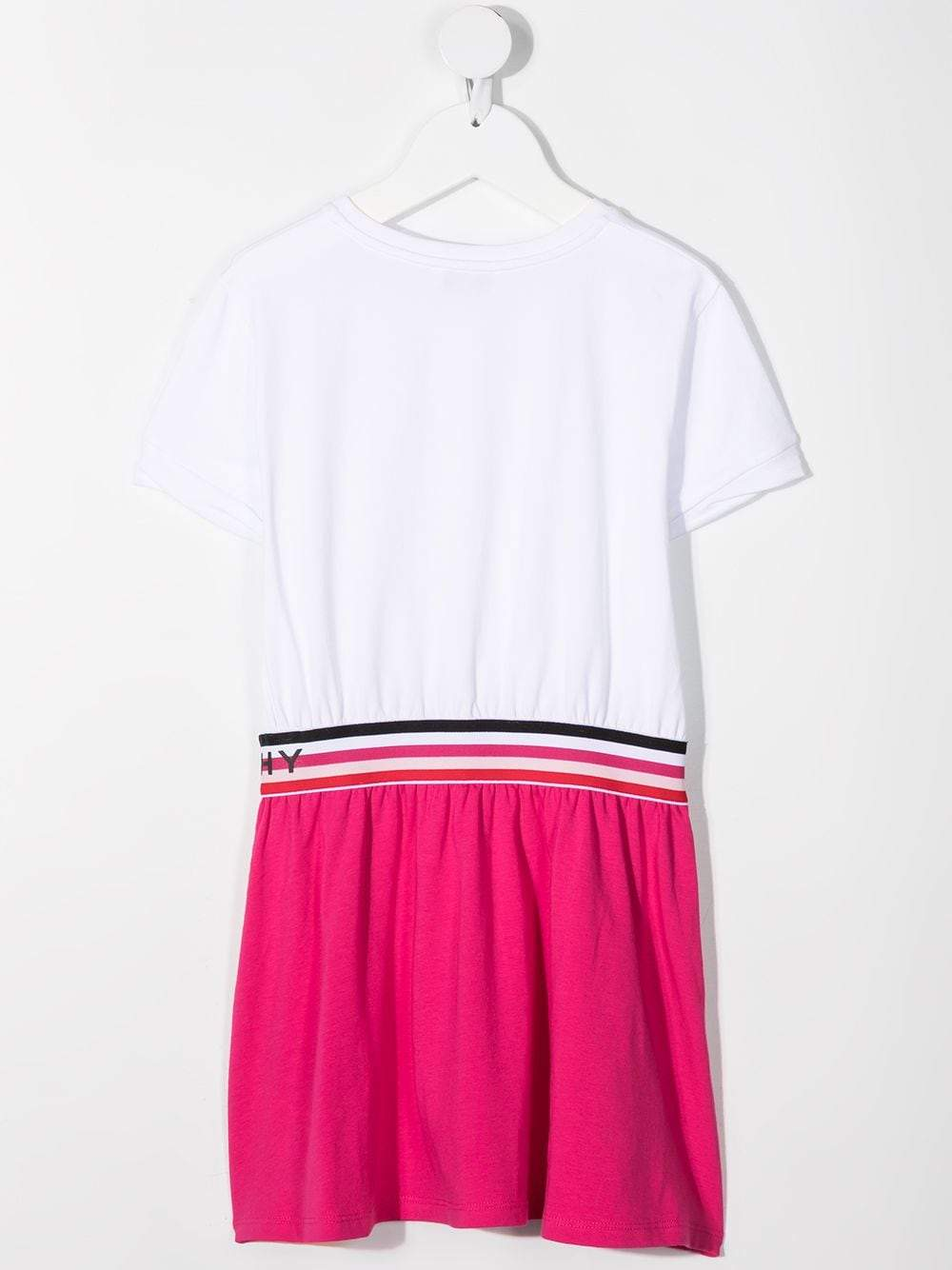 GIVENCHY KIDS Logo tape colour-block T-shirt dress Pink/White
