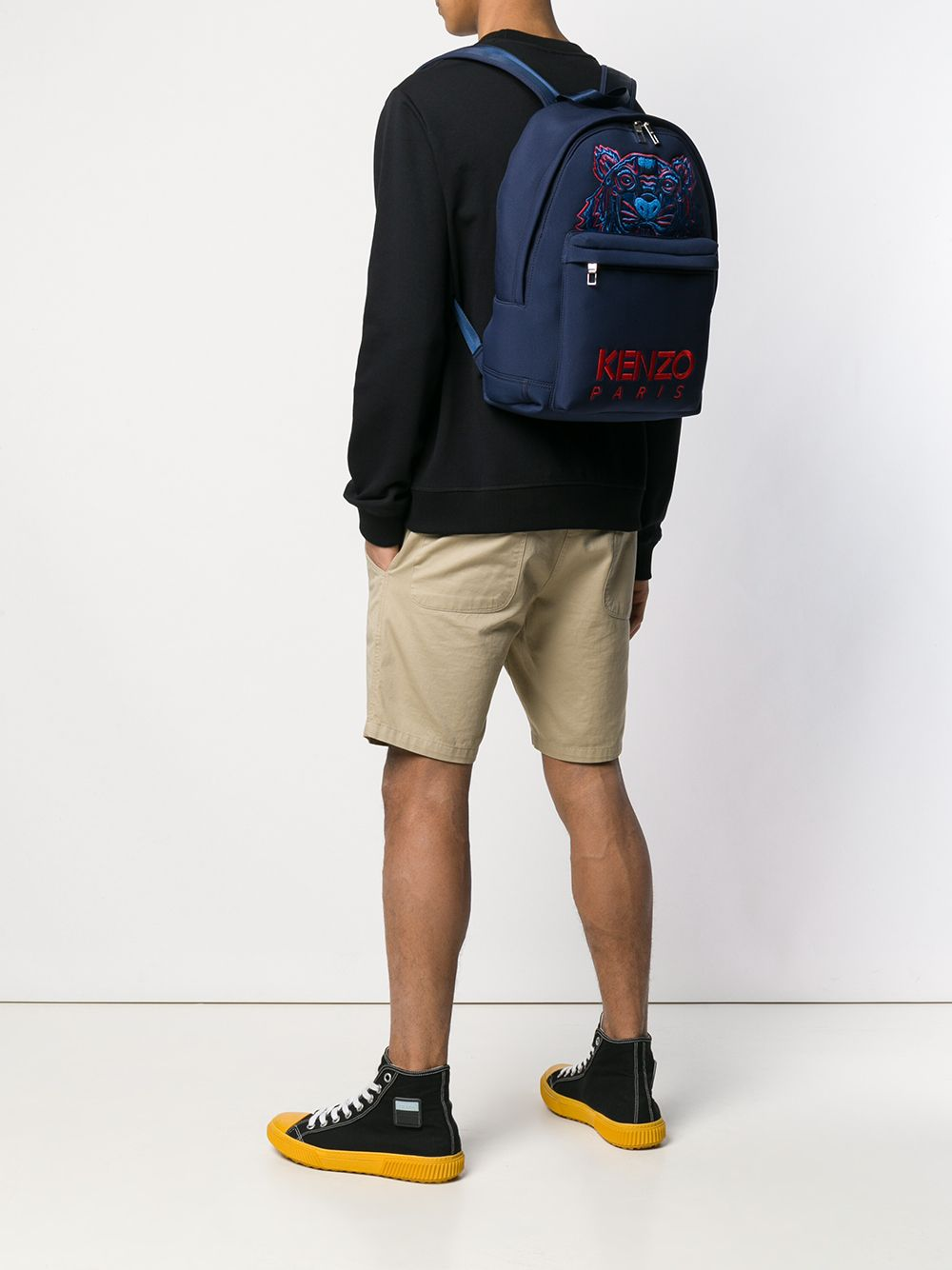 KENZO Embroidered Tiger Logo Backpack Navy/Red
