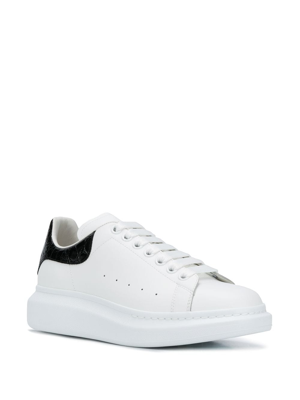 Alexander McQueen Oversized Sole Croc Leather Sneakers White