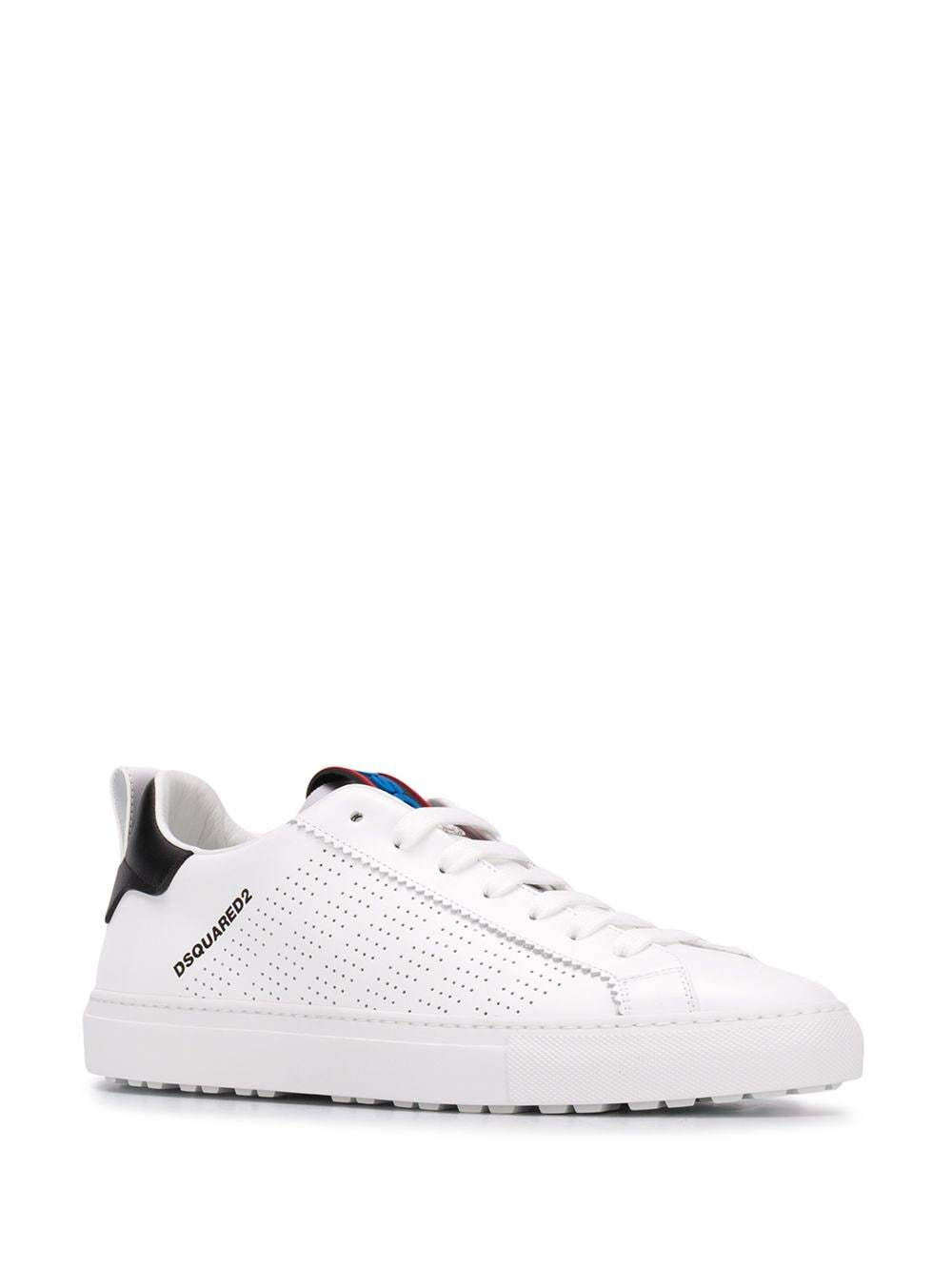 DSQUARED Logo Print Low Top Sneakers Bianco/Multicolor