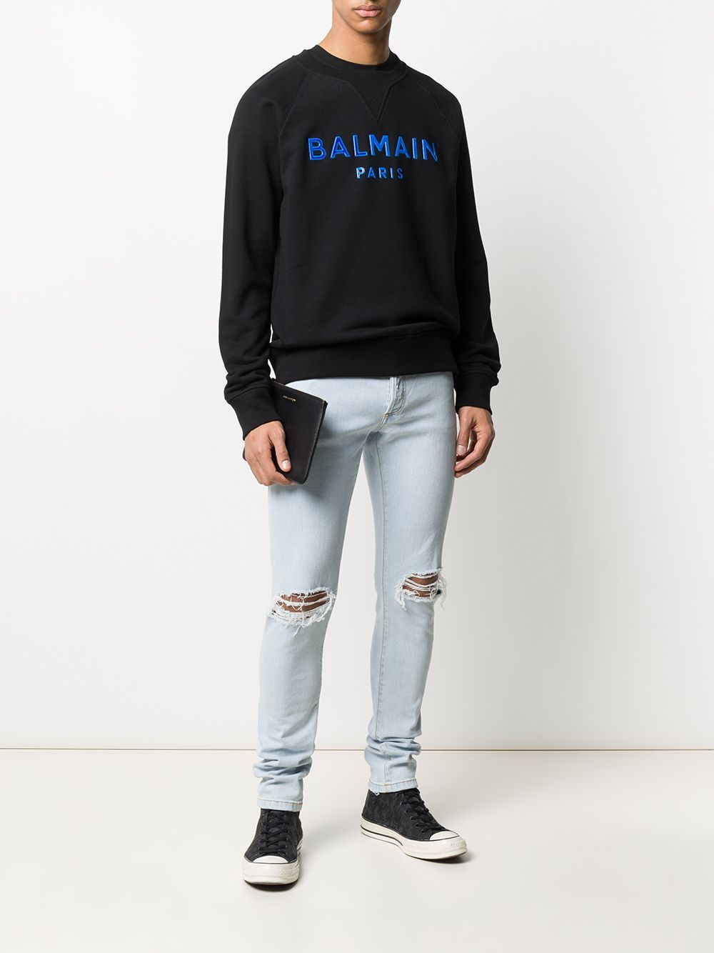 BALMAIN gel logo sweatshirt black/blue