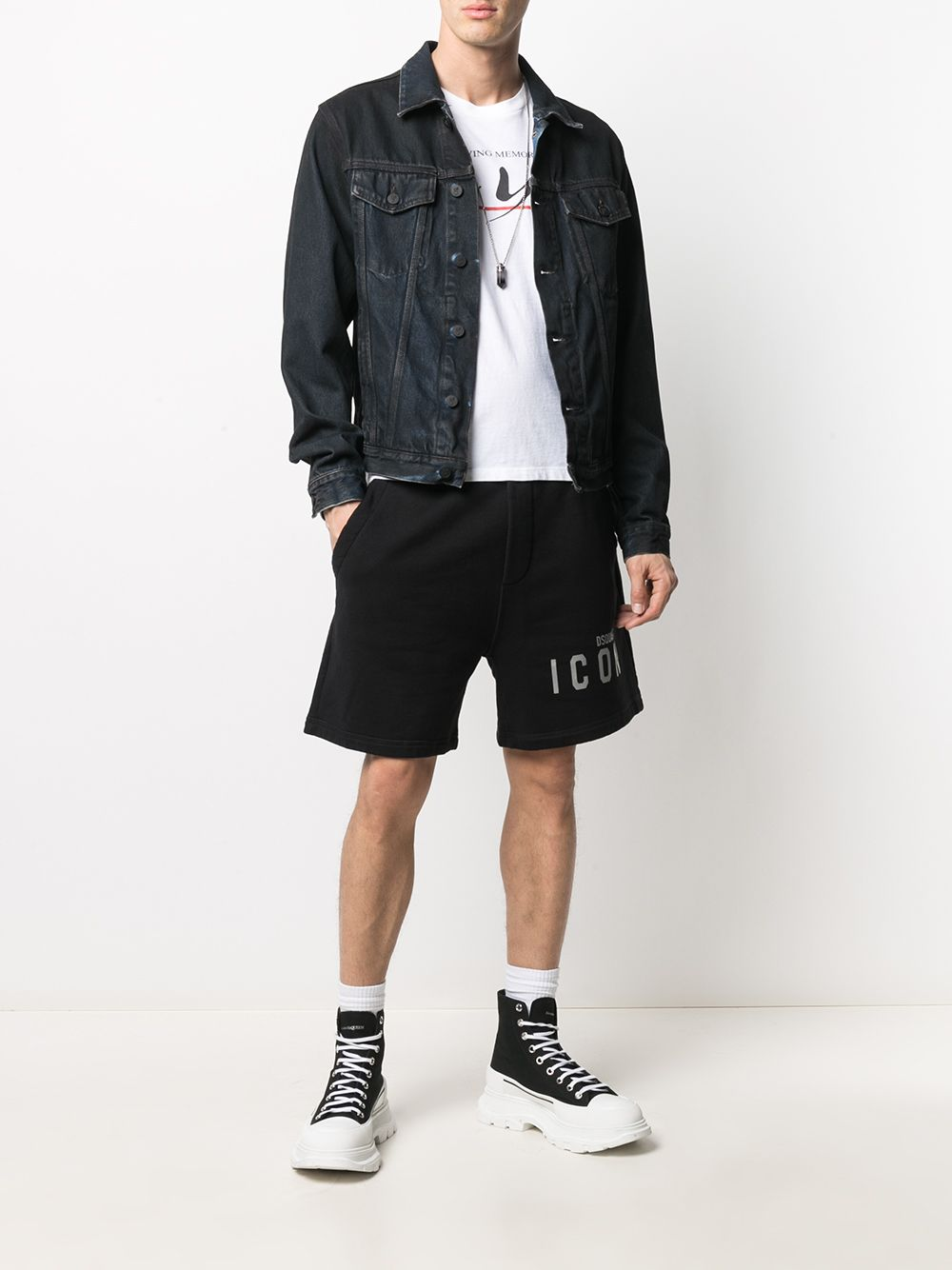 DSQUARED2 Reflective Icon Logo Shorts Black
