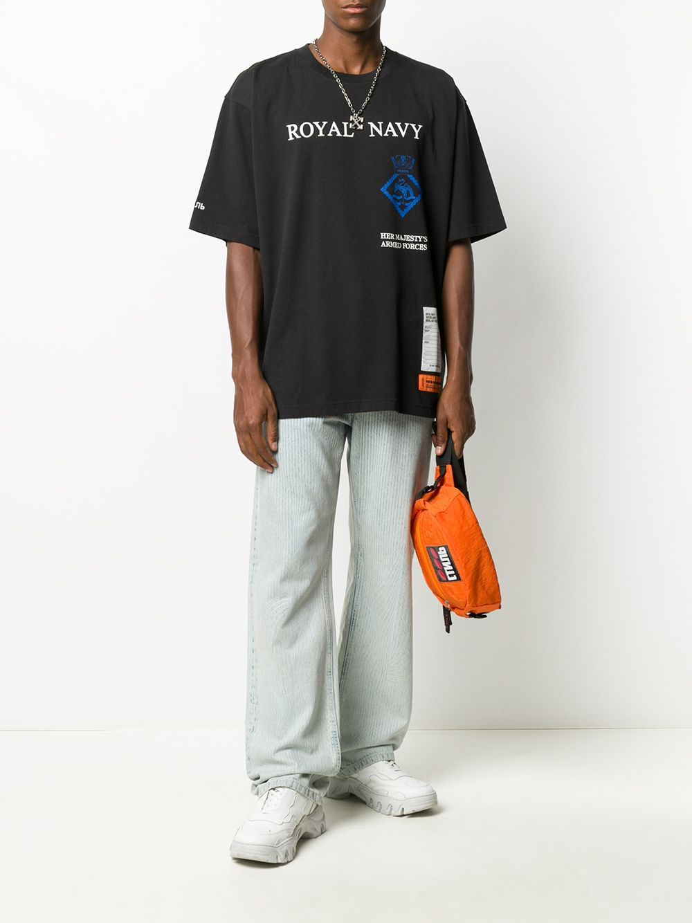 HERON PRESTON Royal Navy Print T-shirt Black