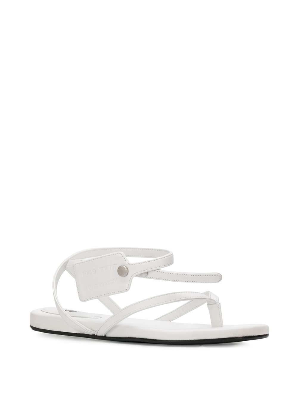 OFF-WHITE zip-tie tag strappy sandals white