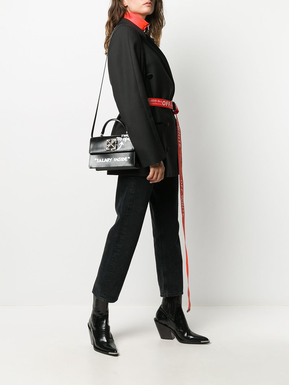 OFF-WHITE Jitney 1.4 Salary Inside Shoulder Bag Black