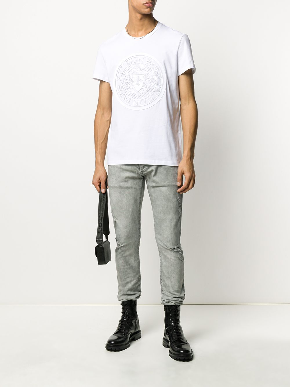 BALMAIN medallion flock logo t-shirt white/white - Maison De Fashion