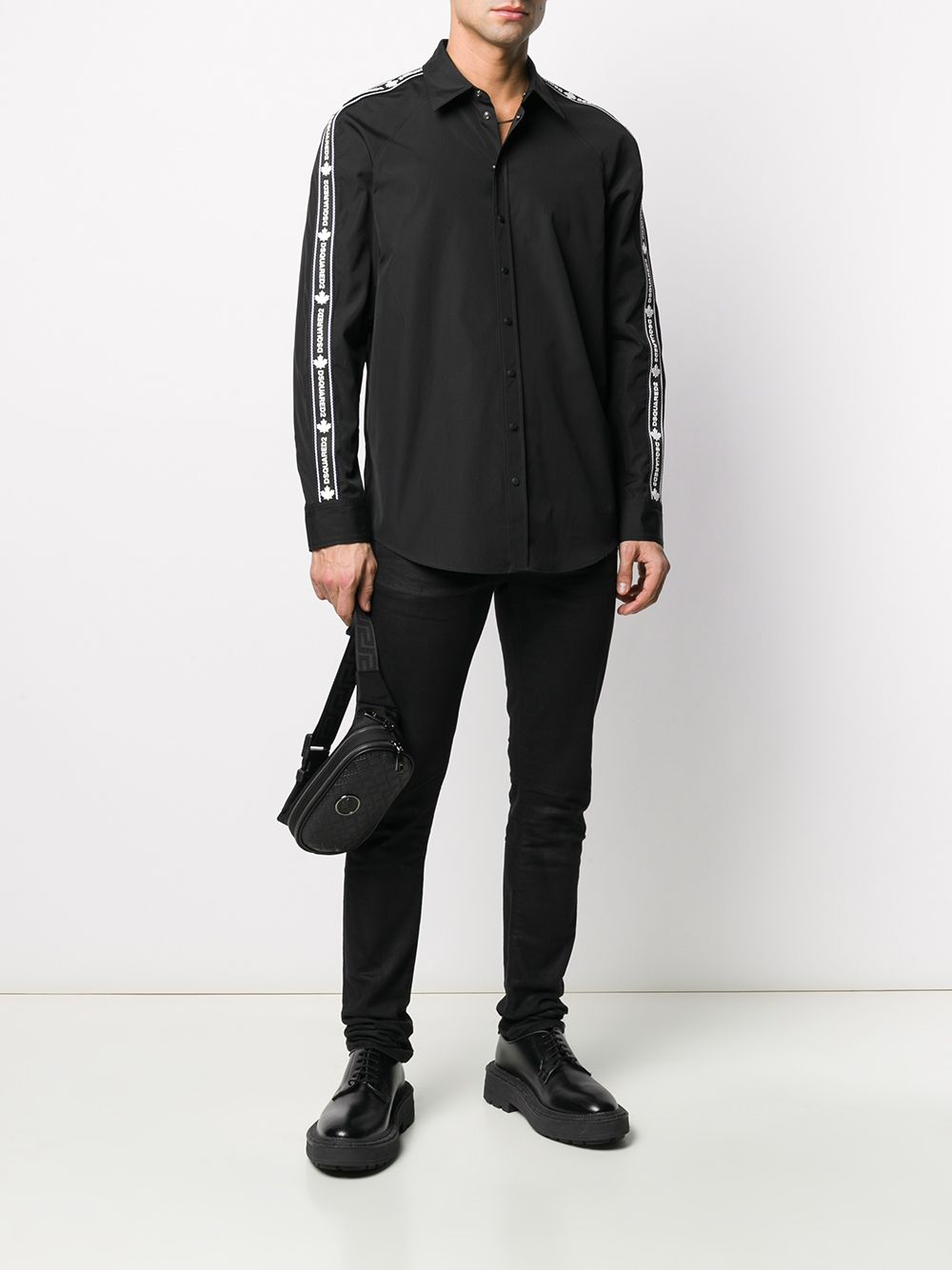 DSQUARED2 Logo Stripe Relaxed Fit Shirt Black