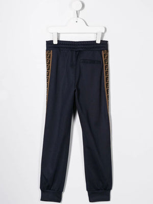 FENDI KIDS logo tape joggers Royal Blue - Maison De Fashion