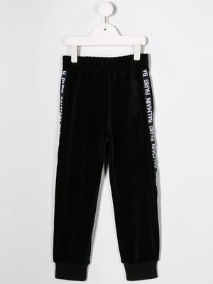 BALMAIN KIDS logo stripe track pants black - Maison De Fashion