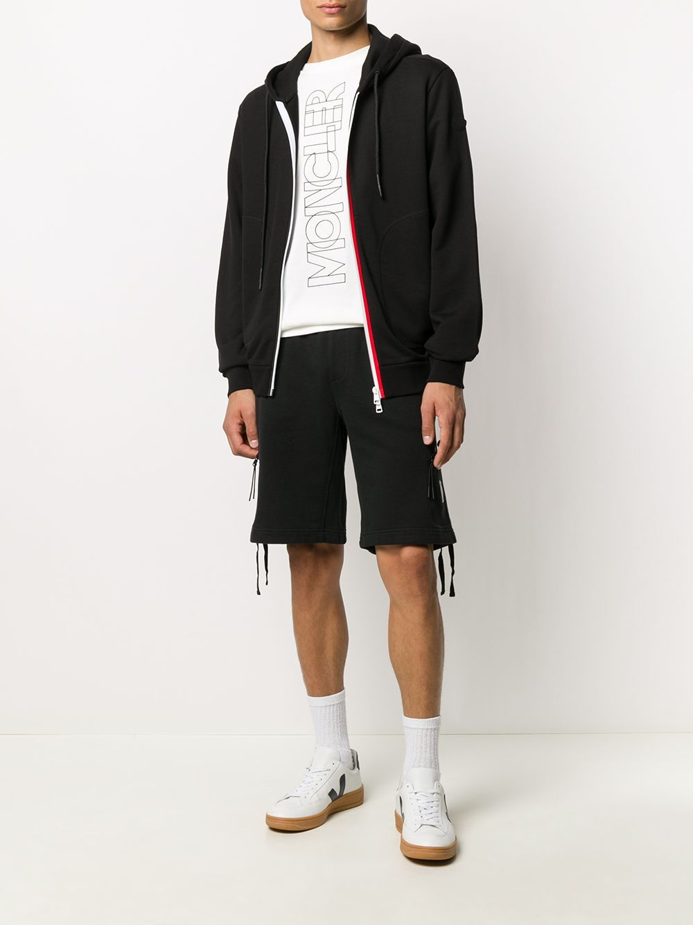 MONCLER Logo Tape Zip-up Jacket Black