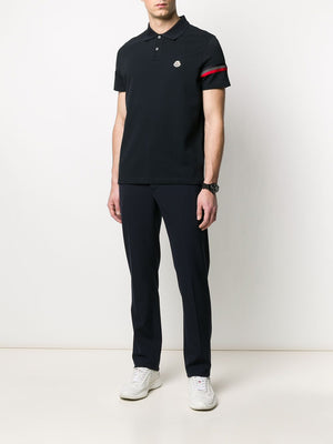 MONCLER polo shirt with reflective detail navy - Maison De Fashion