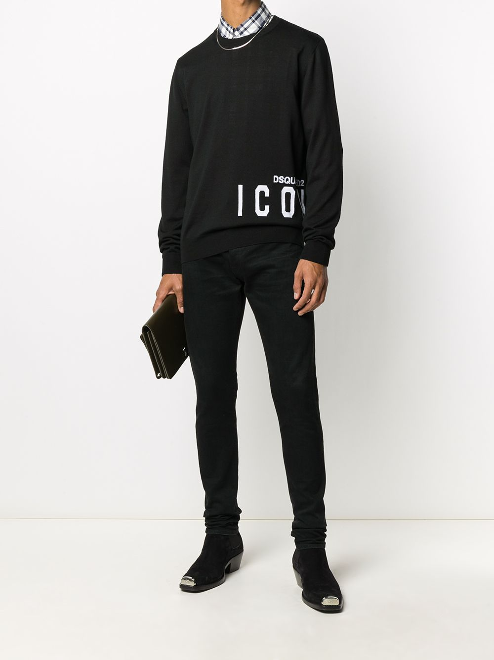 DSQUARED2 Icon Intarsia-Knit Sweatshirt Black