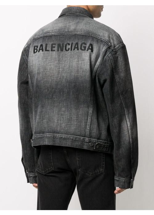 Balenciaga embroidered logo washed denim jacket grey