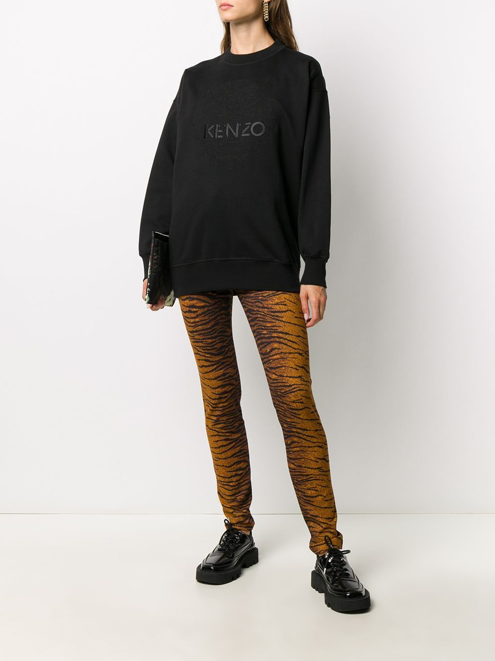 KENZO WOMEN Tiger Logo Sweatshirt Dress Black