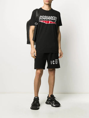 DSQUARED2 icon logo-print track shorts black - Maison De Fashion