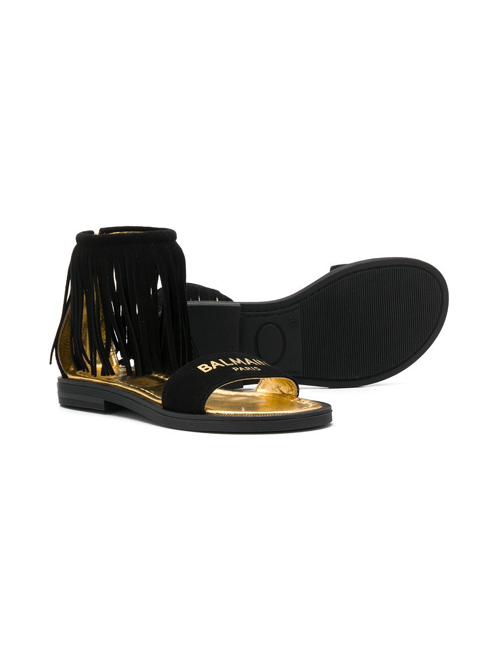 BALMAIN KIDS open toe fringed logo sandals black - Maison De Fashion