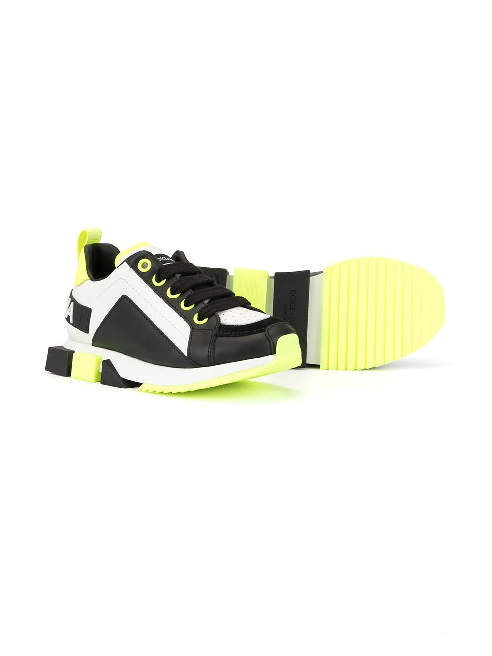 DOLCE & GABBANA KIDS Colour Block Sneakers White/Fluorescent Yellow