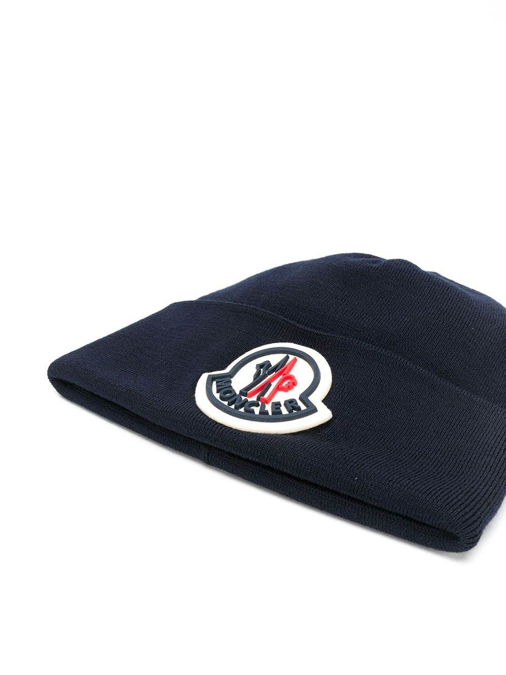 Moncler rubber logo patch beanie navy