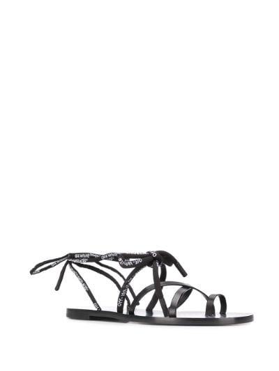 OFF-WHITE shoe laces flat sandal black