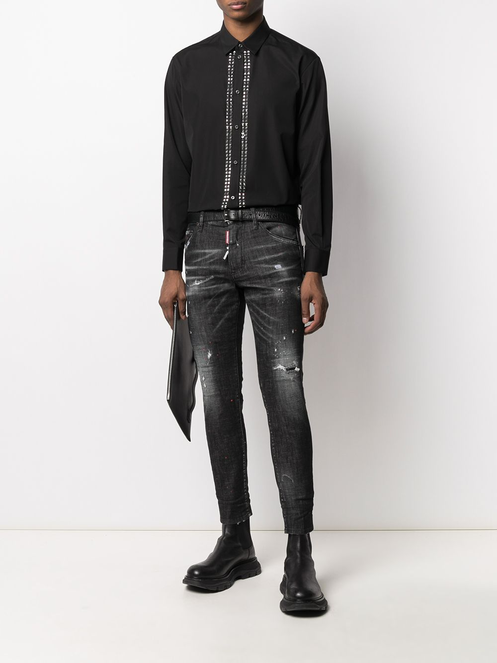 DSQUARED2 Pyramid Stud Embellished Shirt Black