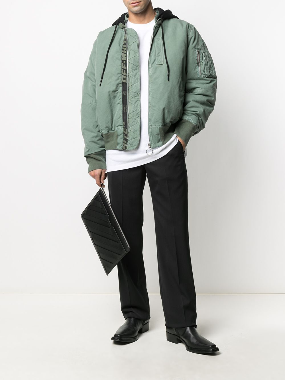 OFF-WHITE Arrow Vintage Bomber Jacket Green - Maison De Fashion