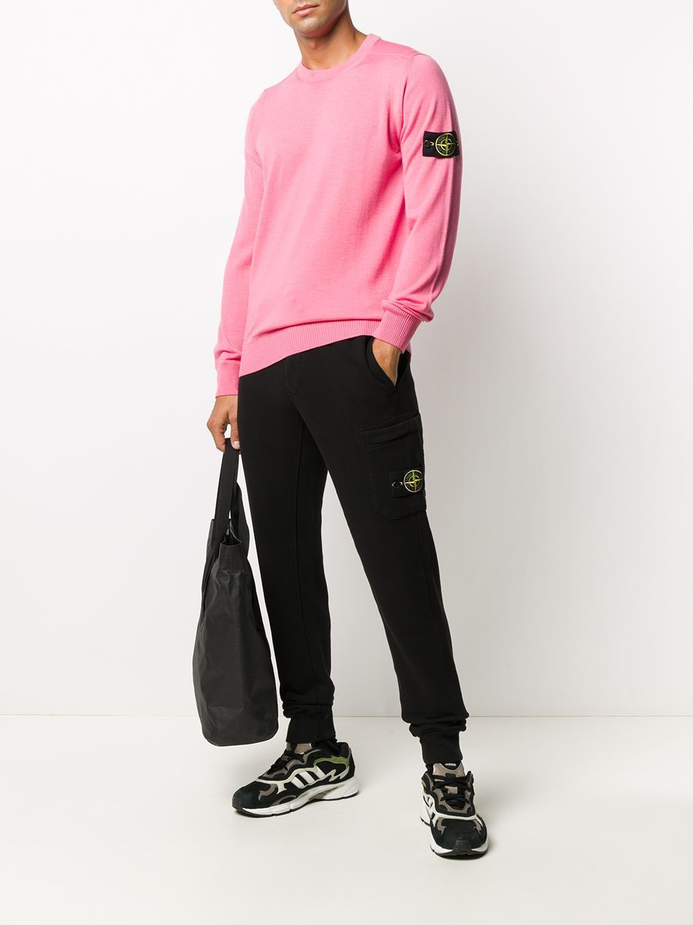 STONE ISLAND Fleece Sweatpants Black