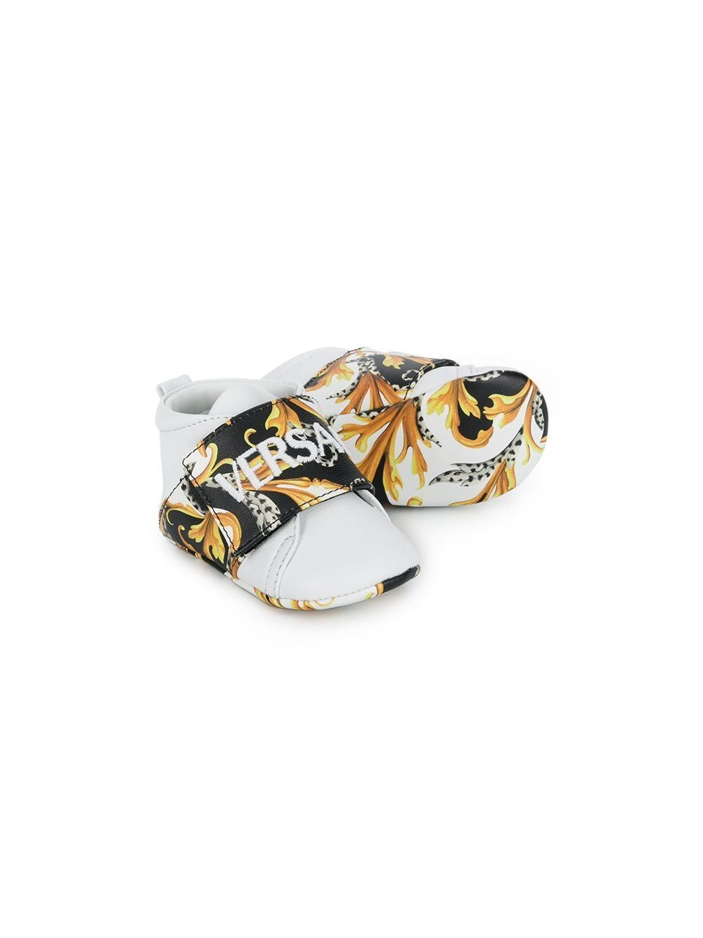 VERSACE KIDS Baby Baroque Print Sneakers White/Gold