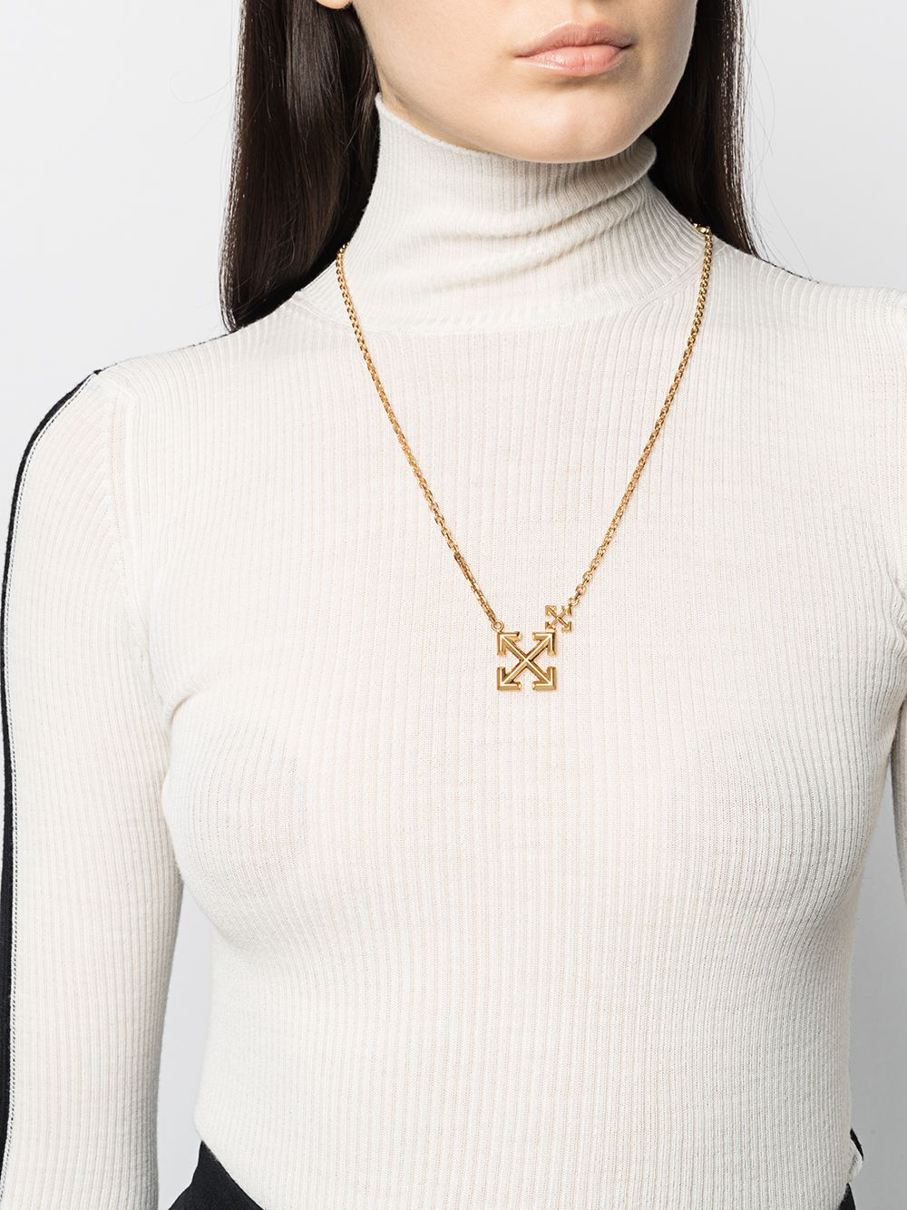 Off-White Women's Double Arrows Logo Necklace Gold - Maison De Fashion
