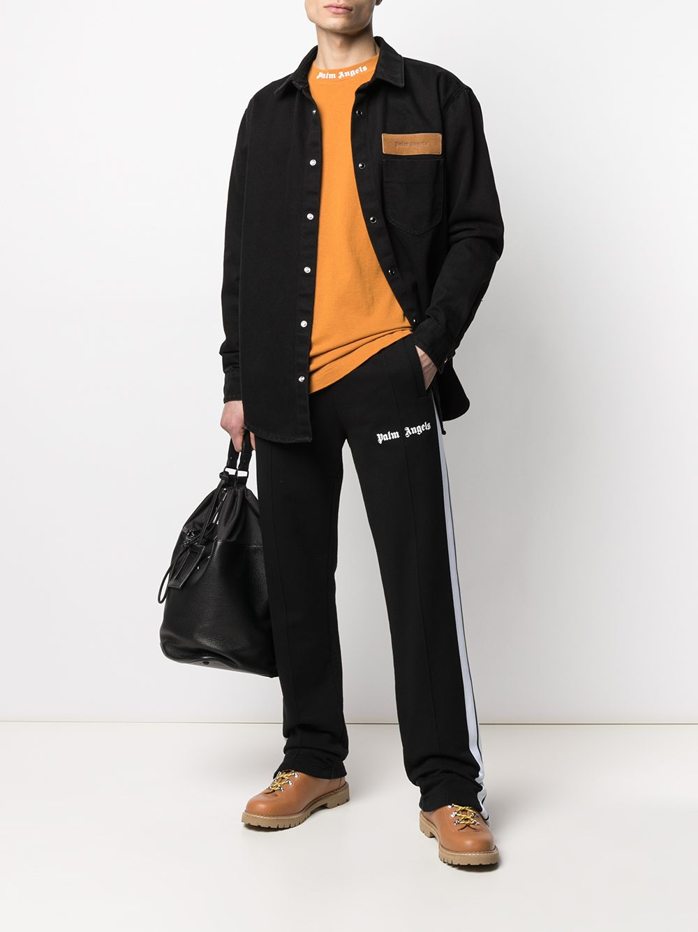PALM ANGELS Fleece Track Pants Black