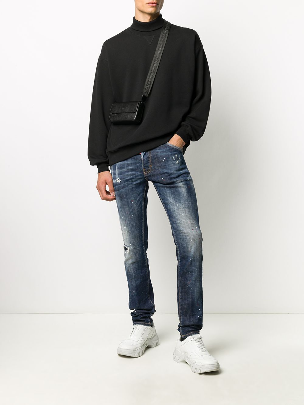 DSQUARED2 Distressed Jeans With Maple Leaf Patch - Maison De Fashion