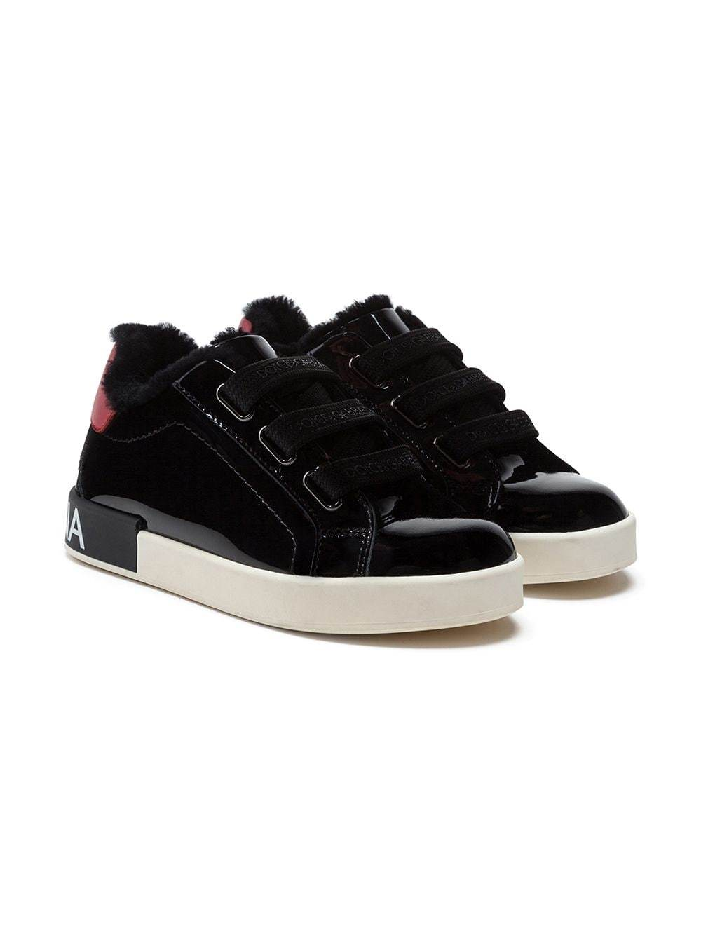 Dolce & Gabbana KIDS Patent Leather Logo Sneakers Black