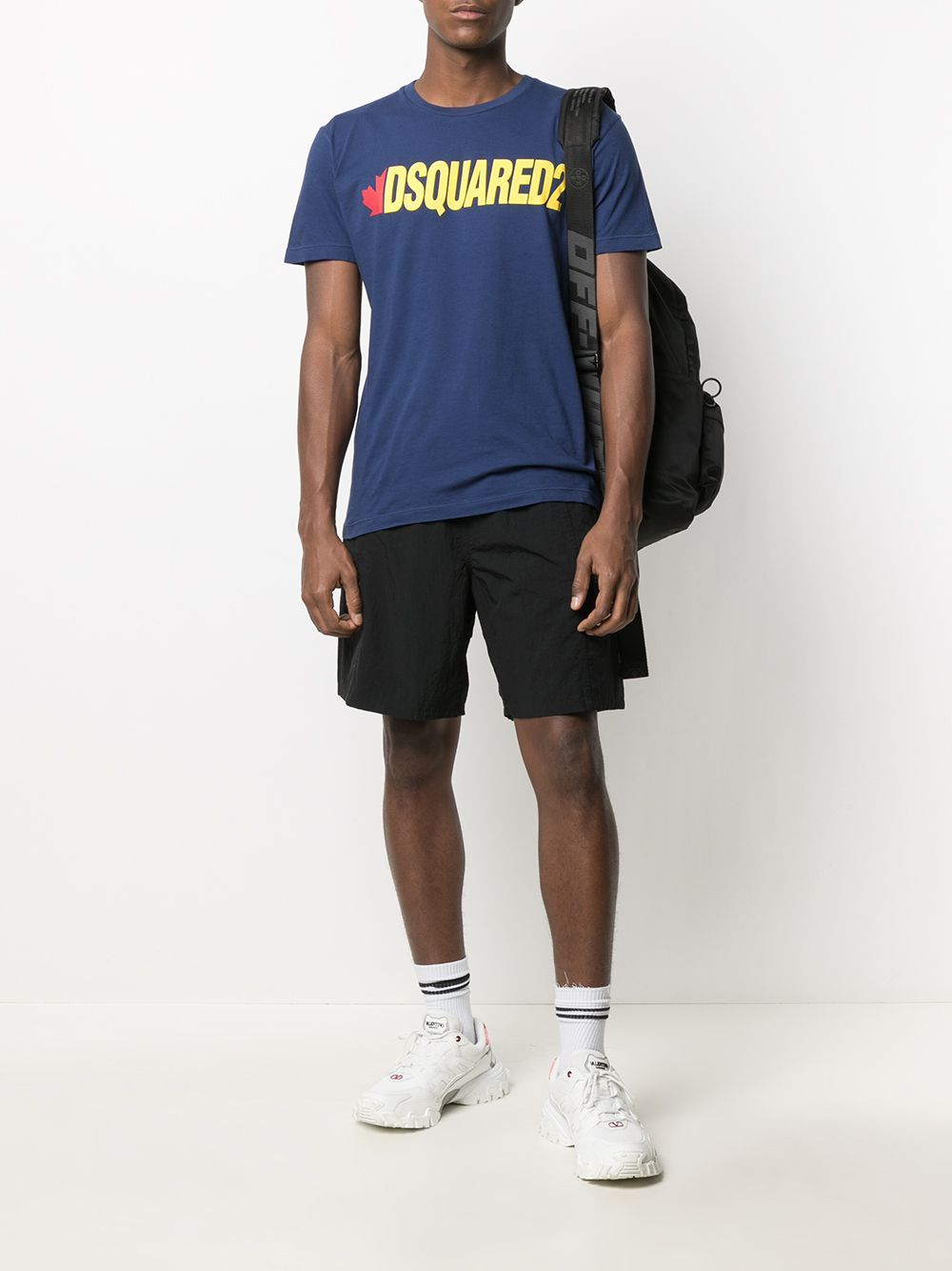 DSQUARED2 Yellow Logo T-Shirt Navy