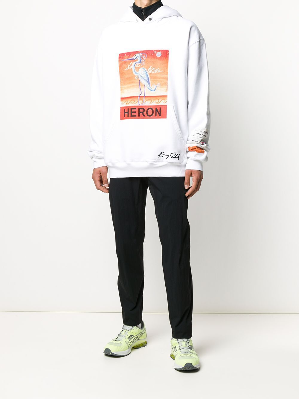 HERON PRESTON Swan Print Hoodie White - Maison De Fashion