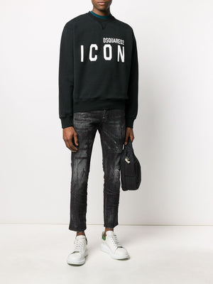 DSQUARED2 Icon Logo Sweatshirt Black/White - Maison De Fashion