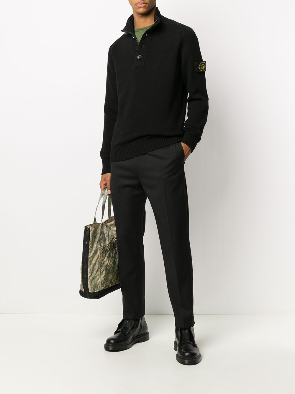 Stone Island Buttoned Up Knitted Sweatshirt Black