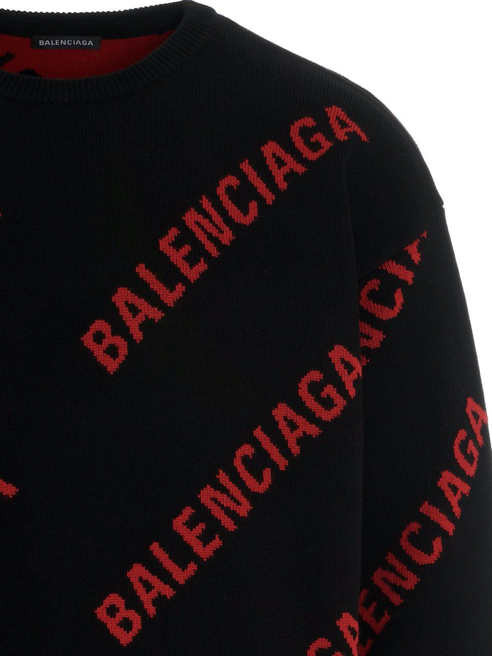 BALENCIAGA All Over Logo Knitted Sweatshirt Black/Red - Maison De Fashion