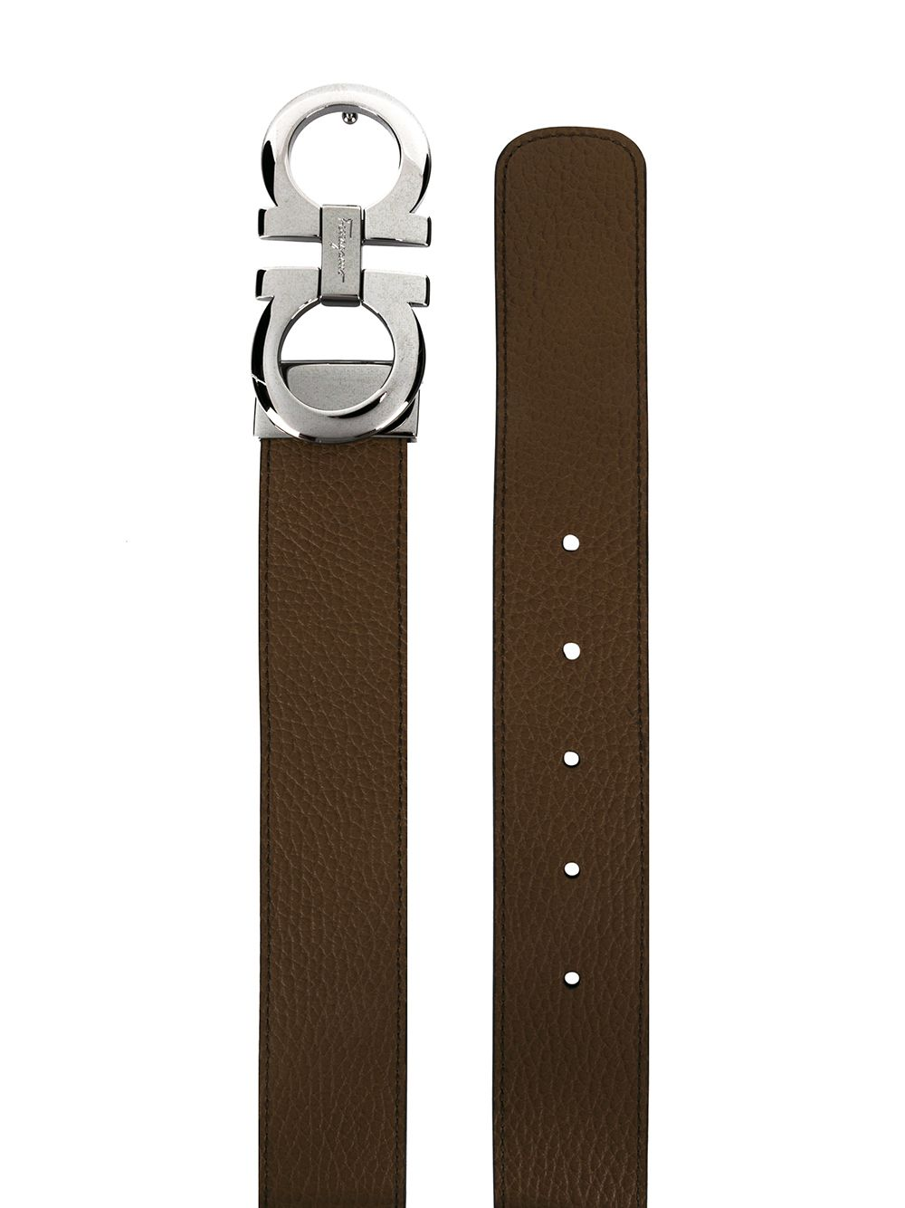 SALVATORE FERRAGAMO Gancini Leather Belt Brown