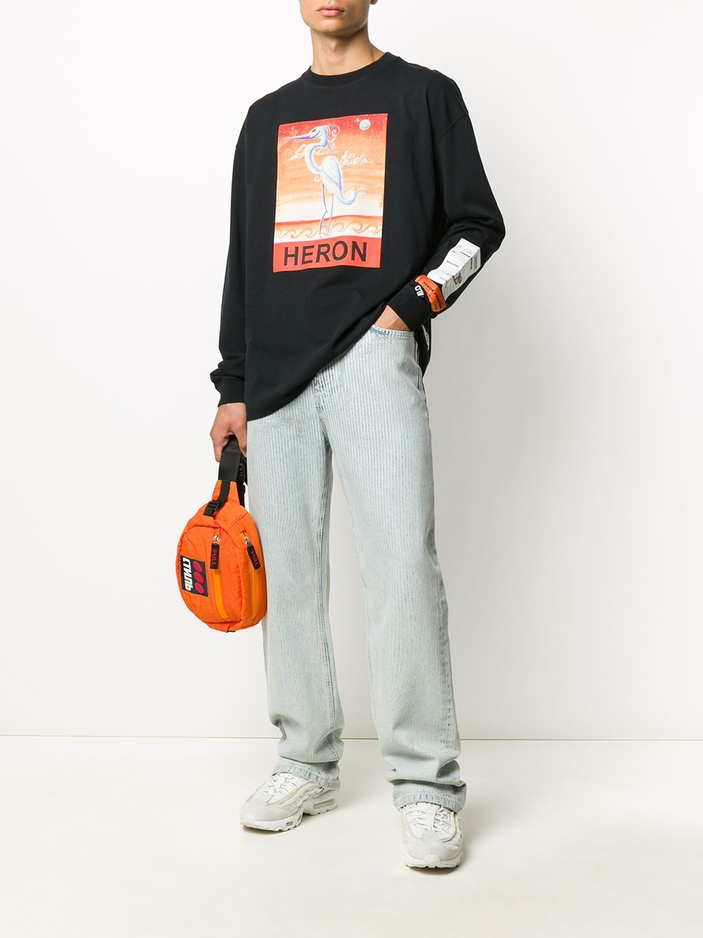 HERON PRESTON Swan Print Long Sleeve T-shirt Black
