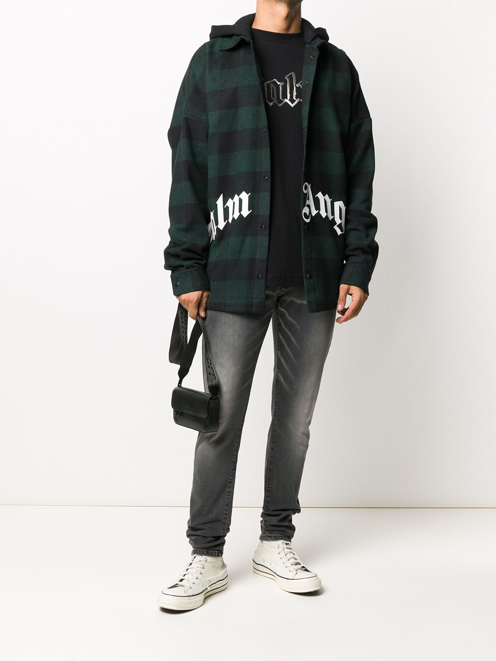 PALM ANGELS Logo Hooded Plaid Overshirt