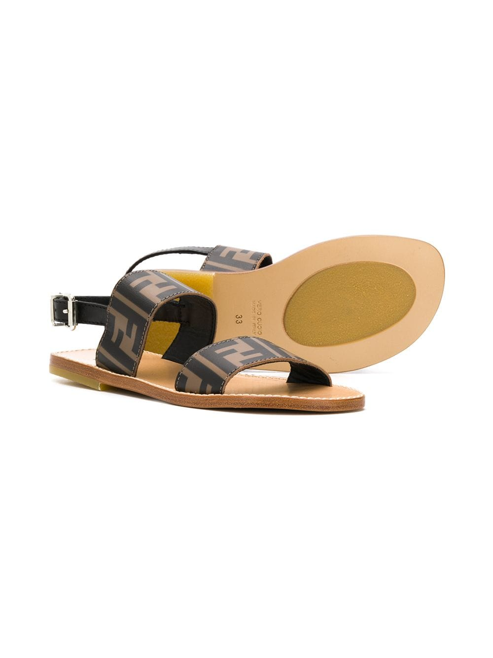 FENDI KIDS monogram print sandals brown