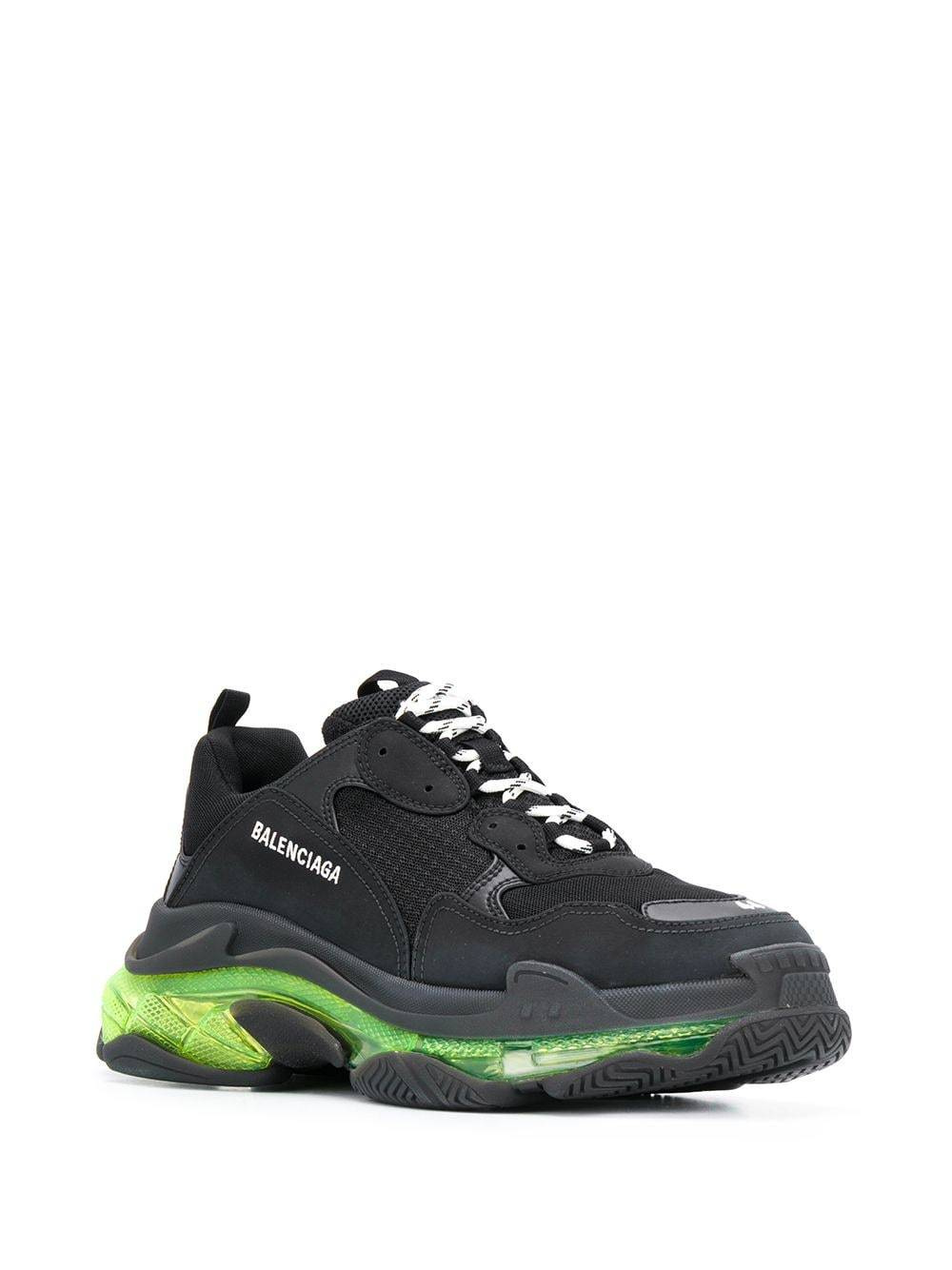 BALENCIAGA Triple S Clearsole Sneaker Black/Fluorescent Yellow
