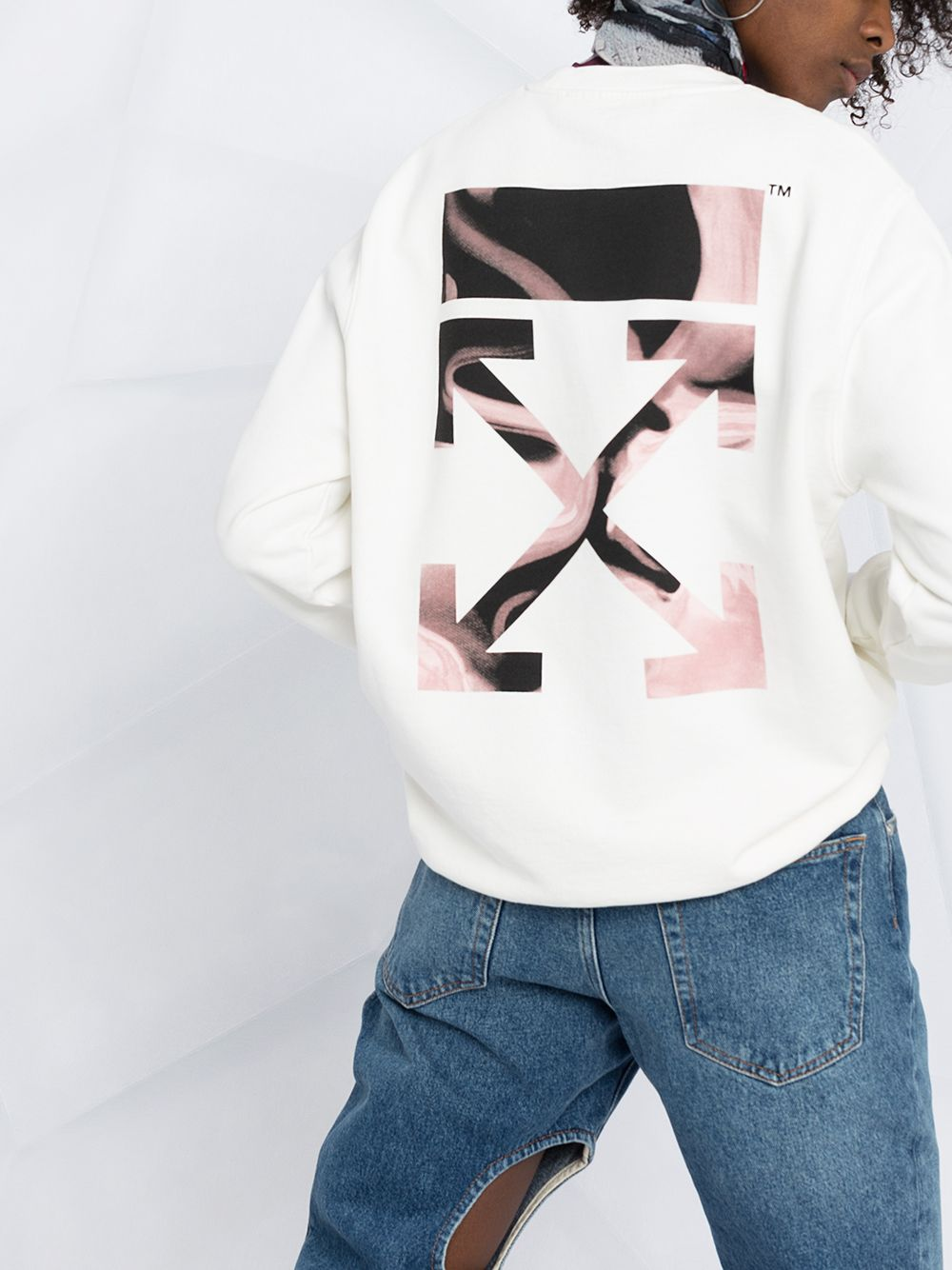 OFF-WHITE Women Arrow Liquid Melt Sweatshirt White