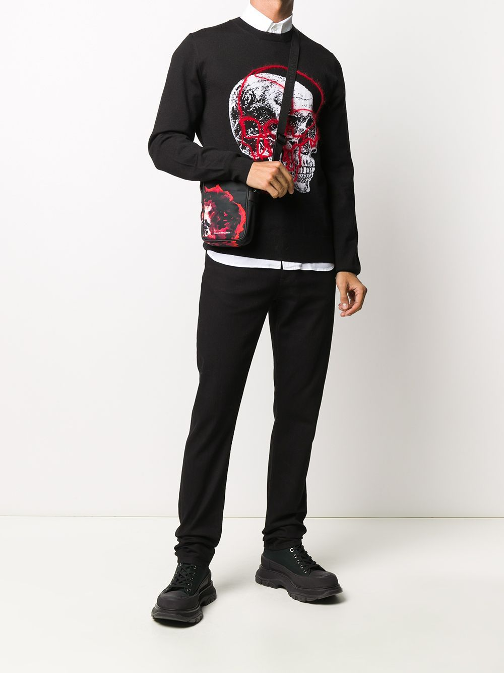 ALEXANDER MCQUEEN embroidered denim jeans black