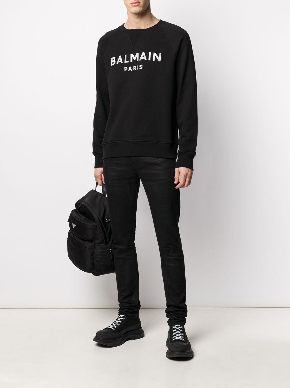 BALMAIN gel logo sweatshirt black/white