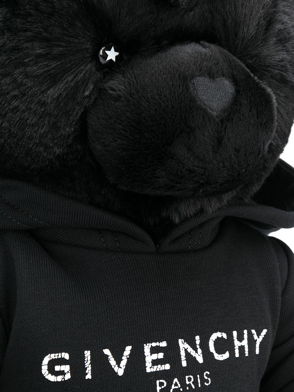 GIVENCHY KIDS Logo Hoodie Teddy Bear Black