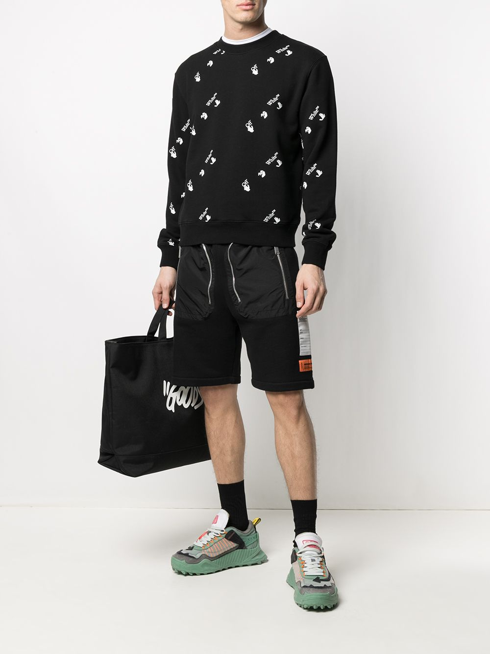 OFF-WHITE All Over Logo Slim Sweatshirt Black