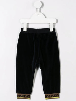 FENDI KIDS monogram detail trousers blue - Maison De Fashion