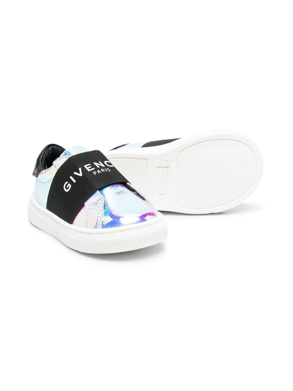GIVENCHY KIDS Elasticated Strap Logo Sneakers Iridescent
