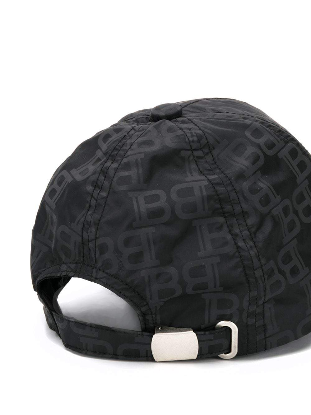 BALMAIN All Over Monogram Print Cap Black